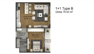 1 Bedroom Intelligent Apartments in Istanbul Esenyurt, Property Plans-2