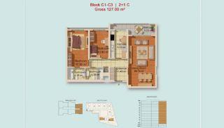 Eigentijdse Istanbul Appartementen met Gescheiden Keuken, Vloer Plannen-2