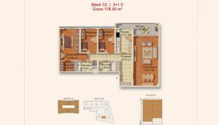 Eigentijdse Istanbul Appartementen met Gescheiden Keuken, Vloer Plannen-4