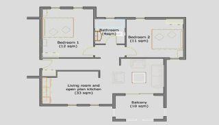 Volledig Gemeubileerd Kalkan Appartement Dichtbij de Zee, Vloer Plannen-1