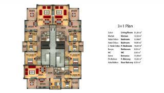شقق 3 غرف نوم في طرابزون مع مطبخ منفصل, مخططات العقار-1