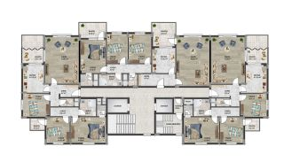 Central 3+1 Apartments with Sea and Nature Views in Trabzon, Property Plans-1