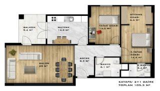 Moderna lägenheter till salu i ett säkert komplex i Bursa, Planritningar-1