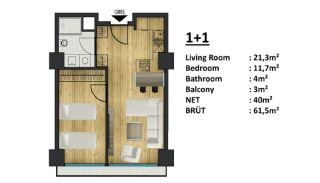 Yalova'da Şehrin Cazibe Merkezinde Otel Konseptli Daireler, Kat Planları-1